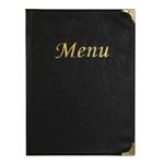 SECURIT PORTA MENU' A4-31,5x24cm NERO in PVC BASIC con 4+2 BUSTE FISSE