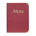 SECURIT PORTA MENU' A4-31,5x24cm BORDEAUX in PVC BASIC con 4+2 BUSTE FISSE