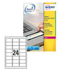 Poliestere adesivo L6146 bianco antim. 20fg A4 63,5x33,9mm (24et/fg) laser Avery