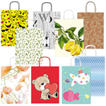 Shopper carta kraft c/manici in carta ritorta 16x21x8cm fantasie ass. Sadoch